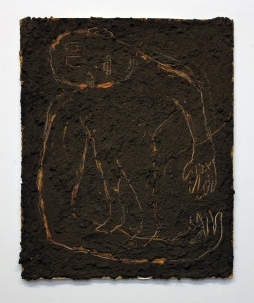 "JS-Horseman, Golem (Met/Emet), 2016, Mud,Acrylic on Paper, 32""x 28"""