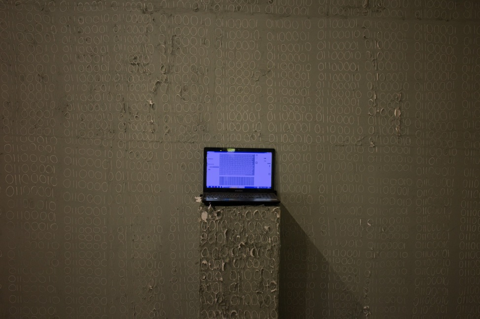 JS-Horseman, Sanctuary (a b), Clay, Light, Laptop Computer, Electronically Generated Sound, Dimensions Vary, Installation at V Moscow Biennale for Young Art